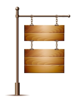 Пустая деревянная доска знак висит на цепи на белом. иллюстрация