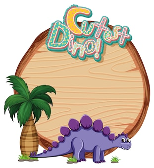 Empty wooden board template with cute dinosaur cartoon character on white