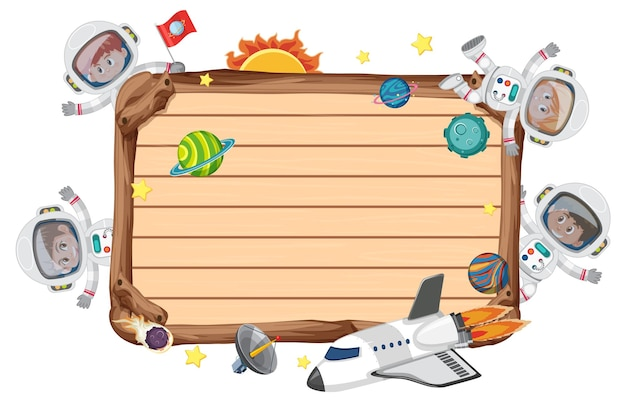 Empty wooden board with astronaut kids cartoon character