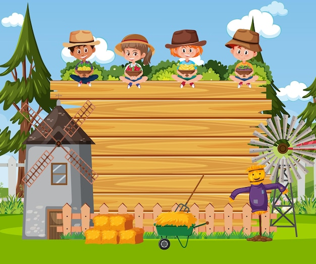Empty wooden board with farmer kids at the farm scene