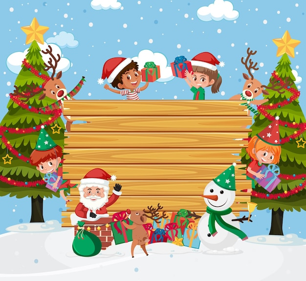 Empty wooden board with kids in christmas theme Premium Vector