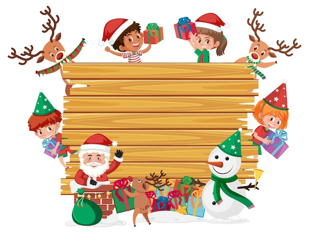 Empty wooden board with kids in christmas theme