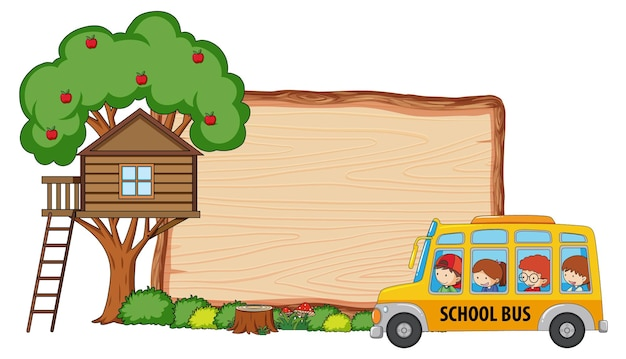 Empty wooden board with many kids on school bus isolated