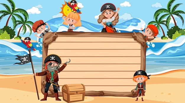 Пустая деревянная доска с множеством пиратских детей мультипликационного персонажа на пляже