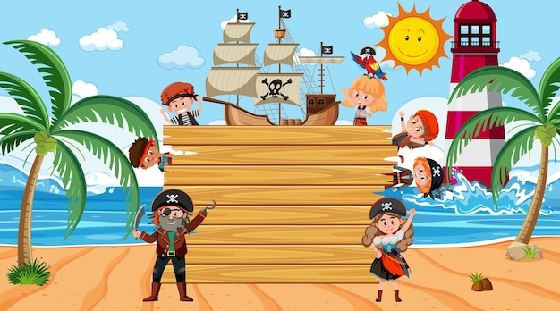 Empty wooden board with many pirate kids cartoon character at the beach