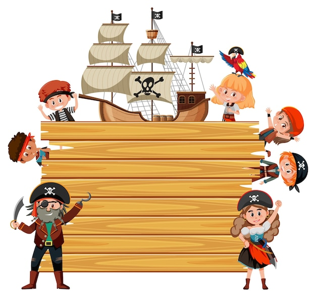 Empty wooden board with many pirate kids cartoon character