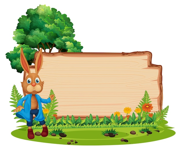 Empty wooden board with a rabbit in the garden isolated