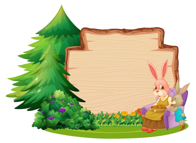 Empty wooden board with two rabbits and garden element isolated