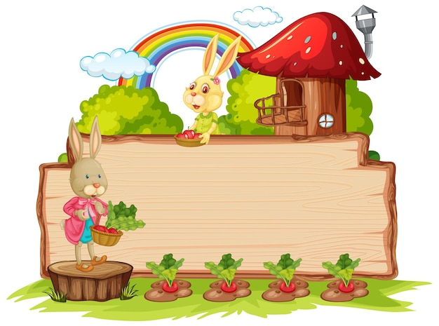 Empty wooden board with two rabbits in the garden isolated