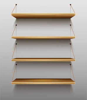 Empty wooden bookshelves on wall shelves for books