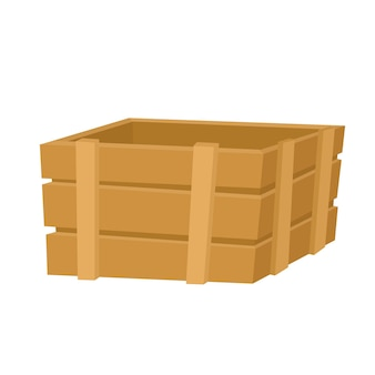 Empty wooden box for fruits and vegetables isolated on white