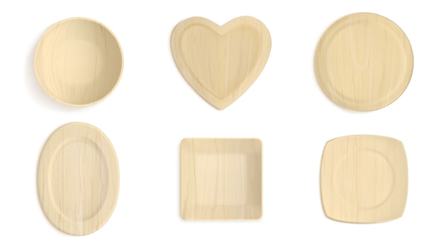 Empty wooden different shapes bowls
