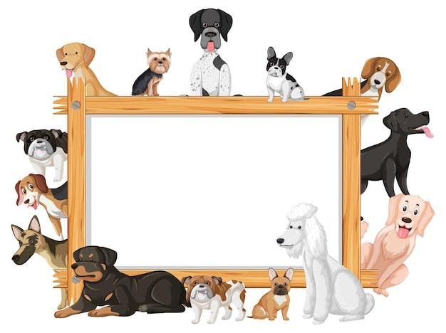犬の様々な品種と空の木枠