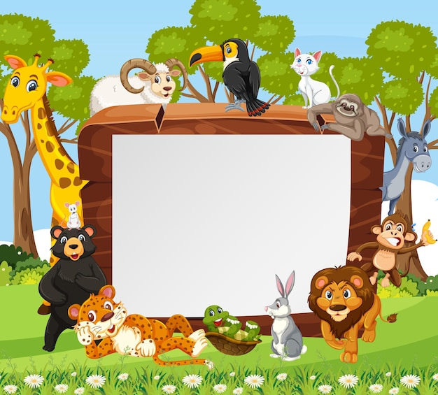 Empty wooden frame with various wild animals in the forest