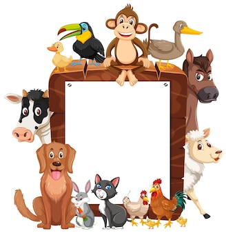 Empty wooden frame with various wild animals