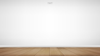 Empty wooden room space background.