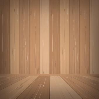 背景に空の木製の部屋スペース。