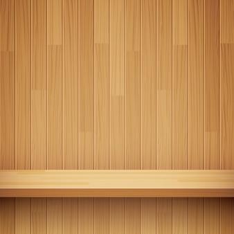 Empty wooden shelf background