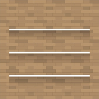 Empty wooden shelf for exhibit on brick wall texture background.