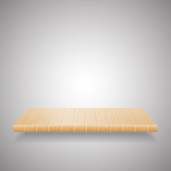 Empty wooden shelf on gradient background