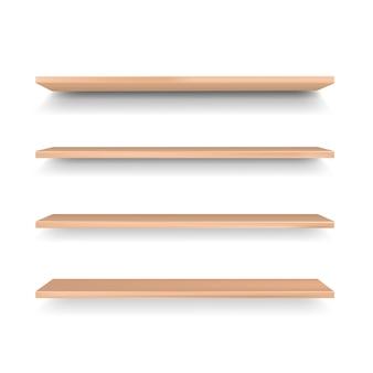 Empty wooden shelf isolated