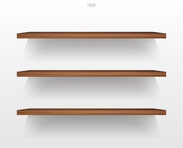 柔らかい影と白い背景の上の空の木製棚