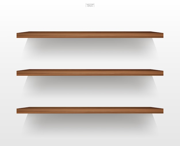 Empty wooden shelf on white background with soft shadow