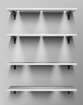 Empty wooden shelves with spotlights