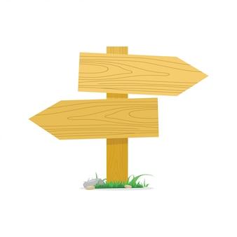 Empty wooden signboards arrow vector illustration