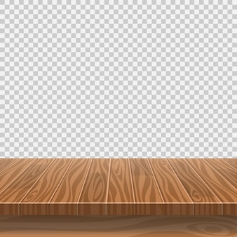 Empty wooden table for product placement on transparent background