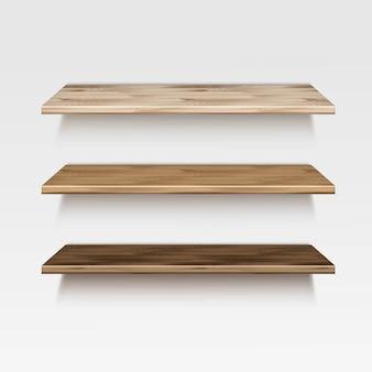 Empty wooden wood shelf shelves  on wall background