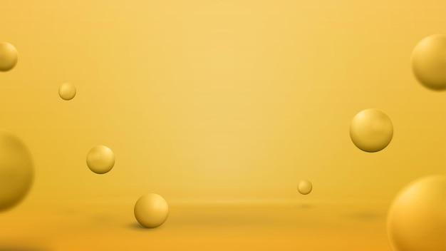 Пустая желтая абстрактная сцена с прыгающими сферами