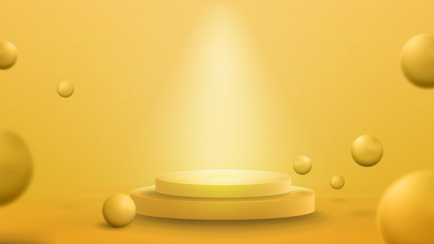 Empty yellow podium with lighting of spotlights and realistic bouncing balls. 3d render illustration with yellow abstract room with 3d yellow spheres