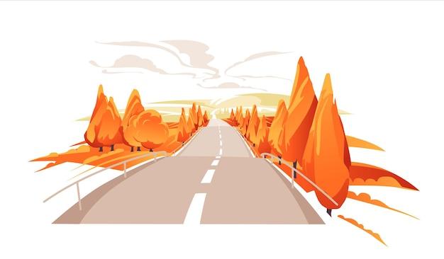 언덕으로 가는 엠티 도로 높은 언덕으로 이어지는 아스팔트 도로가 있는 아름다운 가을 풍경