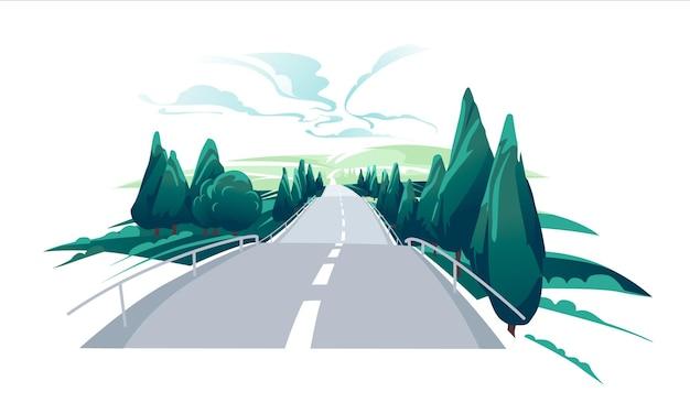 丘への空の道。アスファルト道路が高い丘を通過する風光明媚な夏の風景。
