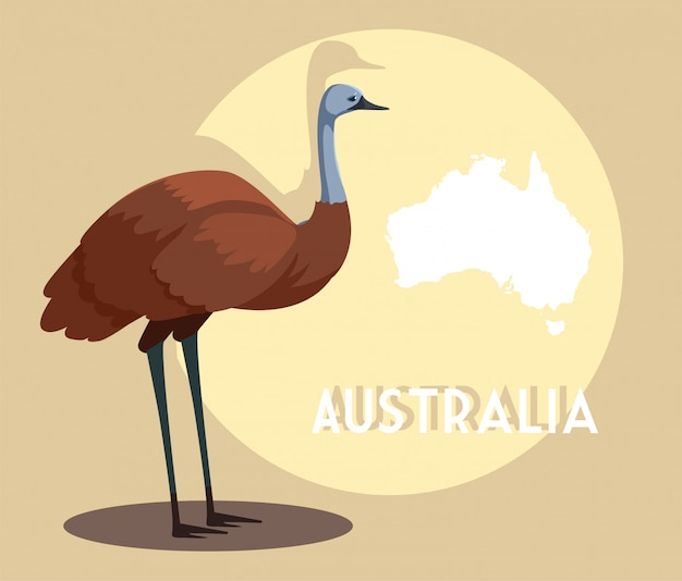 Emu with map of australia