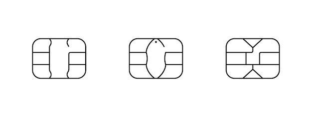 Emv chip icon for bank plastic credit or debit charge card. vector line symbol illustration set