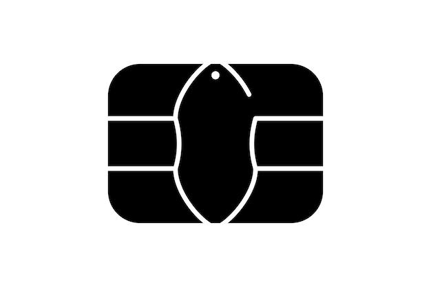 은행 플라스틱 신용 카드 또는 직불 카드용 emv 칩 아이콘. 벡터 검은 기호 그림
