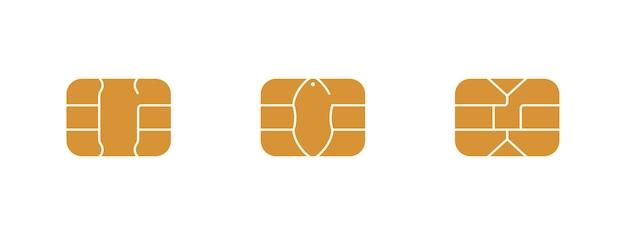銀行のプラスチック製クレジットカードまたはデビットカードのemvチップアイコン。ベクトル記号イラストセット