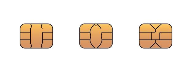 은행 플라스틱 신용 또는 직불 카드용 emv 골드 칩 아이콘. 벡터 기호 그림 세트
