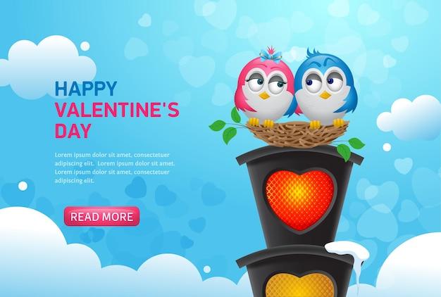 ハート型の電球が付いた信号機の巣にいる夢中の鳥。幸せなバレンタインデーのウェブバナー。