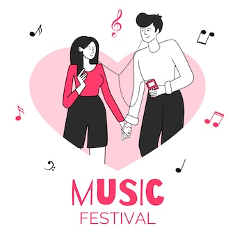 심장 모양 테두리 그림에서 꼴된 몇입니다. 음악 축제, 콘서트, 이벤트. 젊은 사람들이 손을 잡고 음악 평면 윤곽 문자를 듣고 흰색으로 격리