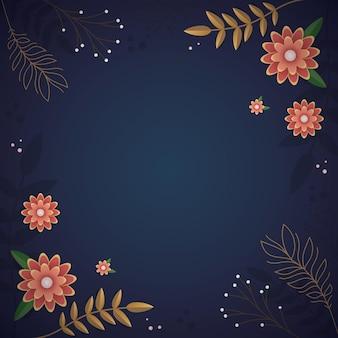 カバーとポストカードの魅惑的な美しい青い花の背景