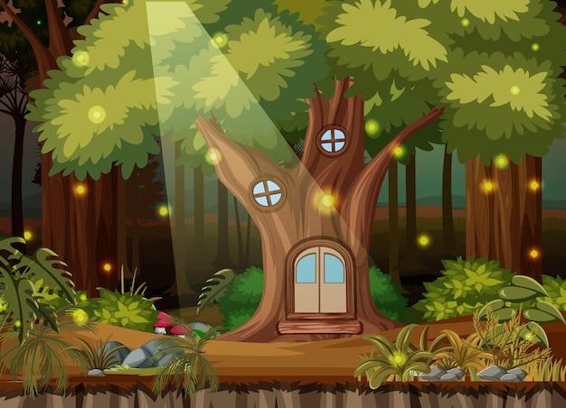 Enchanted forest landscape background