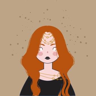 Enchantress  illustration. halloween illustration.