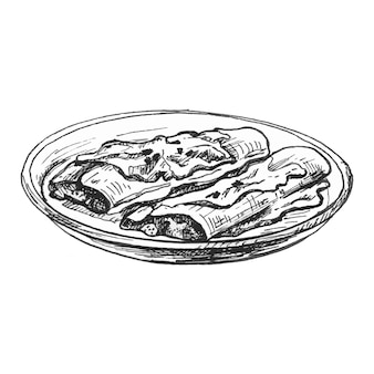 접시에 엔칠라다 멕시코 전통 음식 벡터 빈티지 해칭 컬러 일러스트 절연