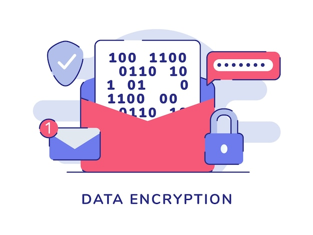Encryption message password email number notification padlock shield white isolated background