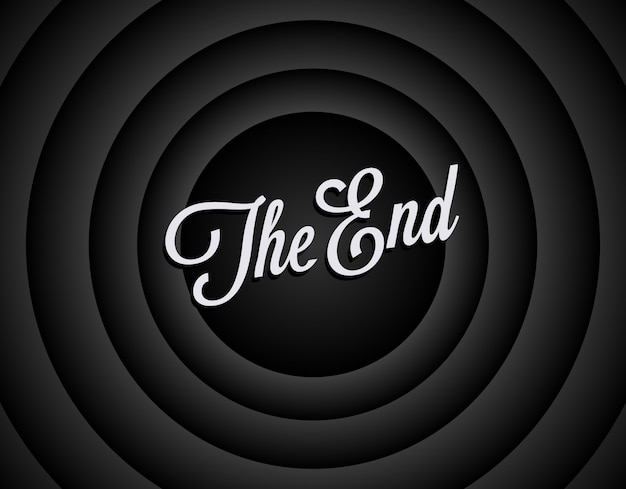 The end black and white screen background.