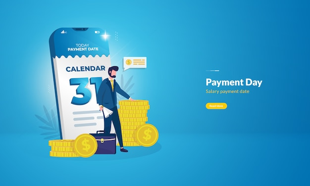 End of month on calendar for payday illustration concept