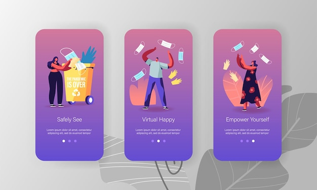 코로나 바이러스 전염병 및 검역 체제 종료 모바일 앱 페이지 온보드 화면 템플릿